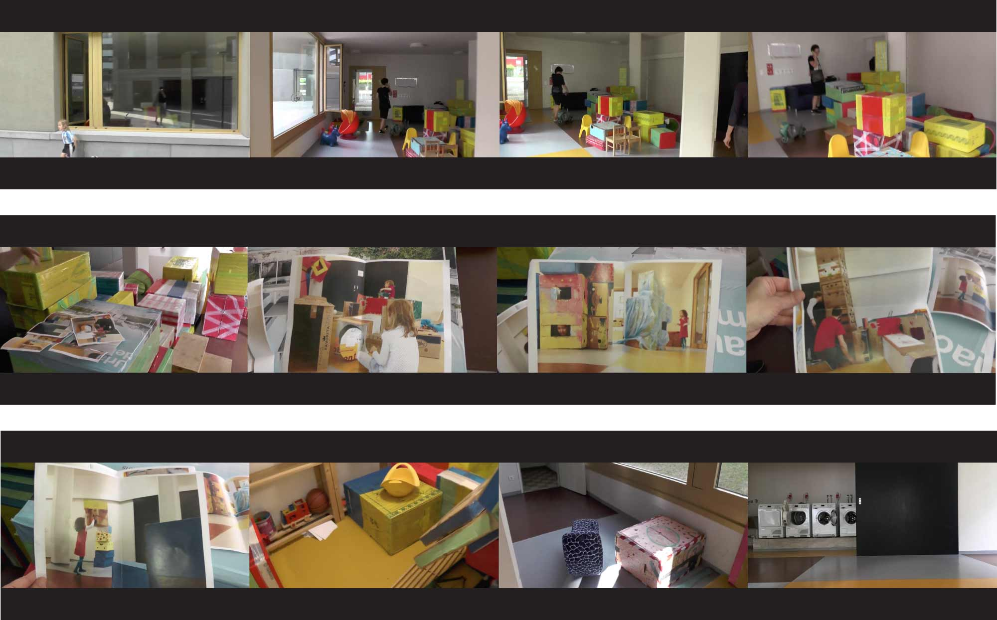 1: Rituals of care: common room with self-built equipment. Video stills: Action Archive + Beatrice Stude