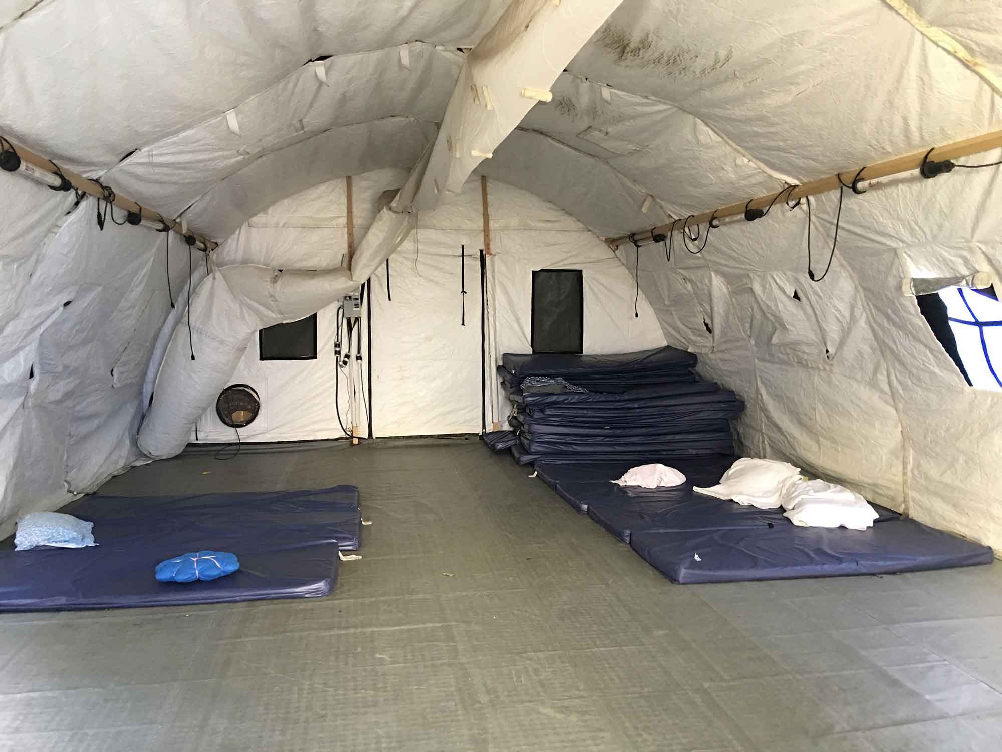 McAllen temporary sleeping quarters (photograph Lori A. Brown)