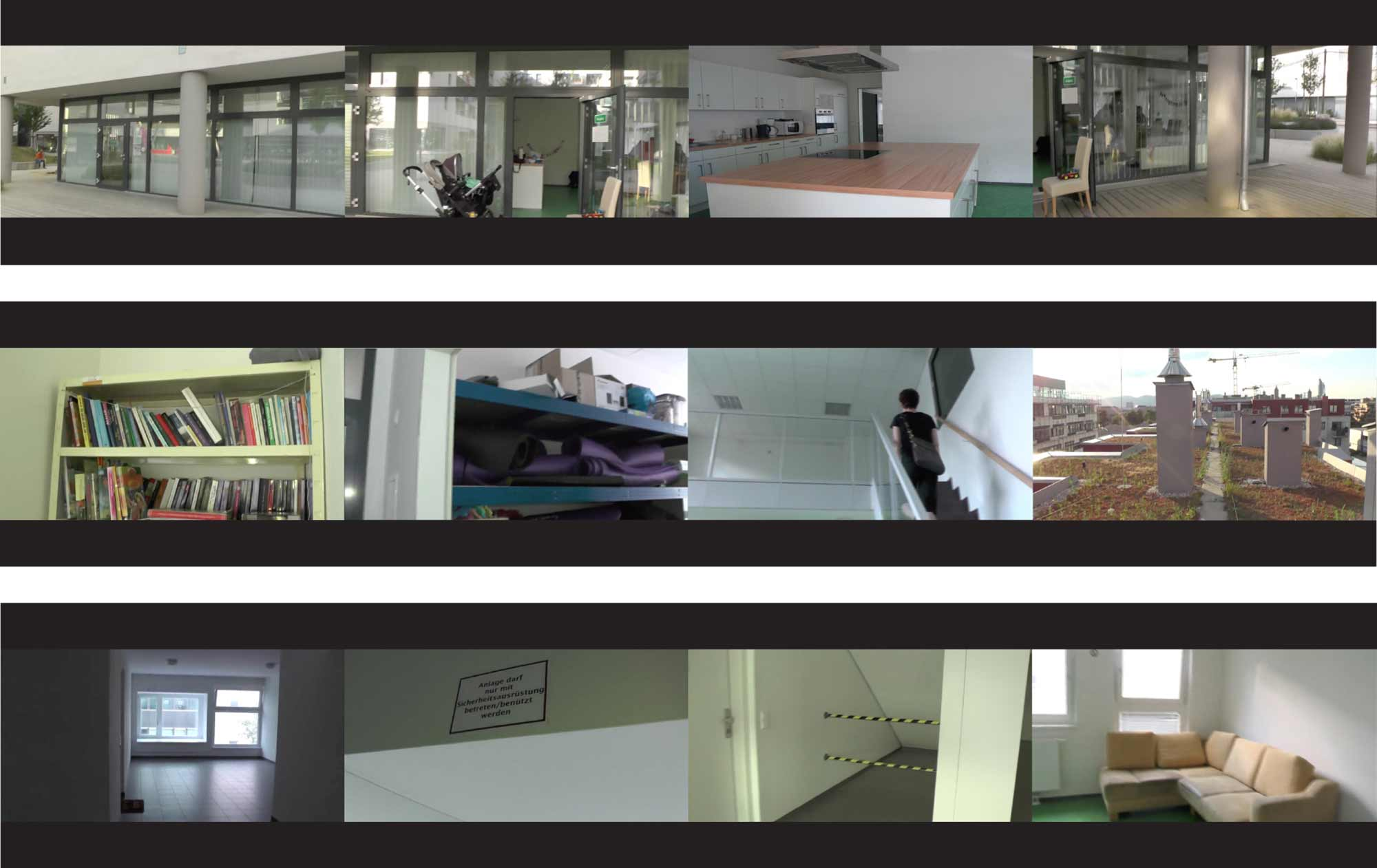 2: Paranoid constructions: empty corridors, initially designed as zones for encounters but empty today due to liability issues. Video stills: Action Archive + Beatrice Stude