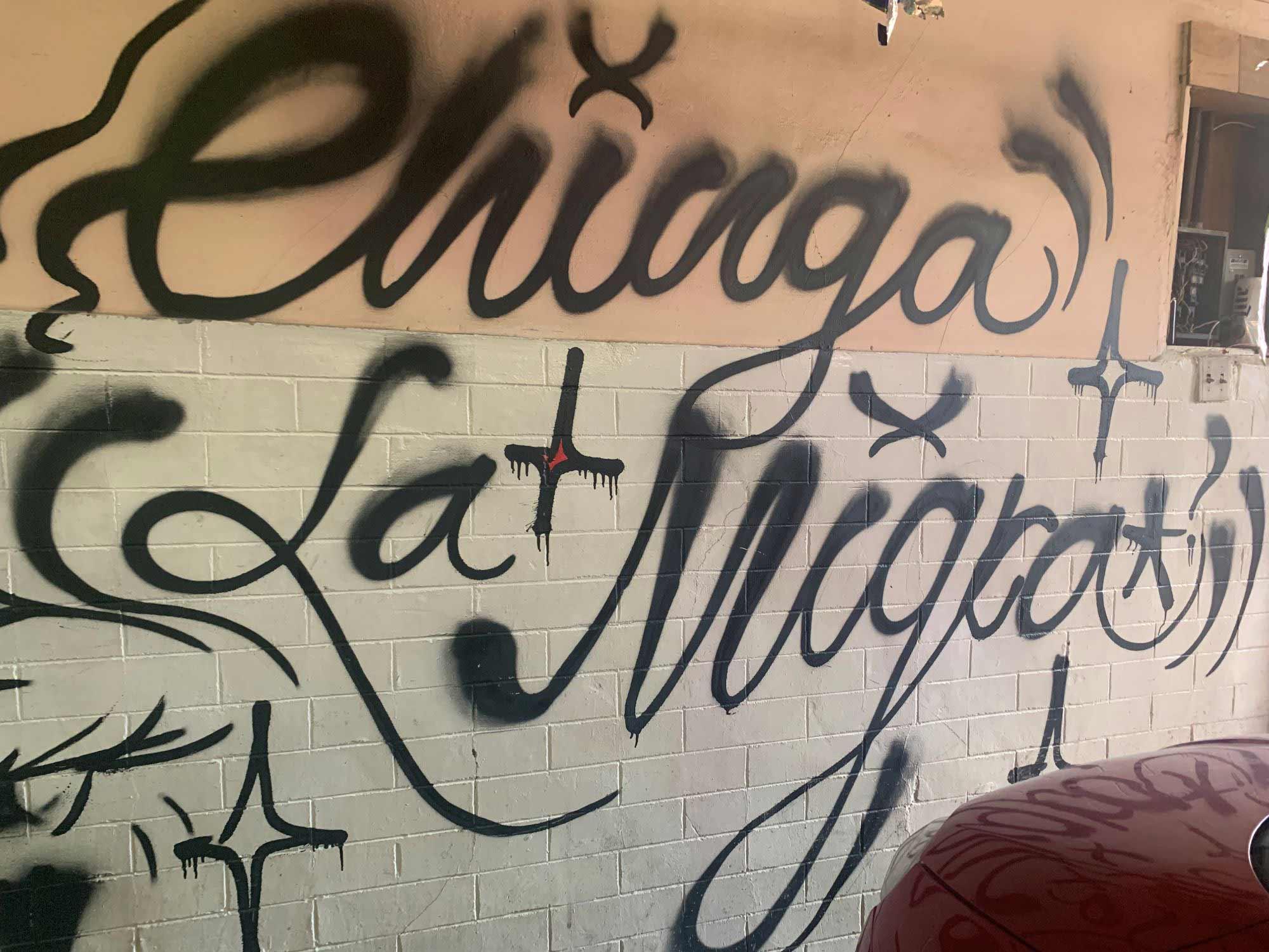 'Chinga la Migra' graffiti-art at casa centro 16 (CX16) in Ciudad Juárez, Mexico. Photograph: lisa nevada