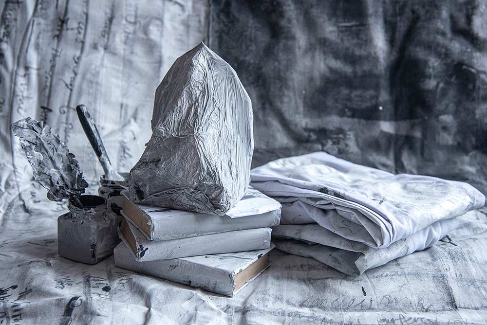 Sean Cham, Washing White, (2021) – artefacts and remnants from the performance.